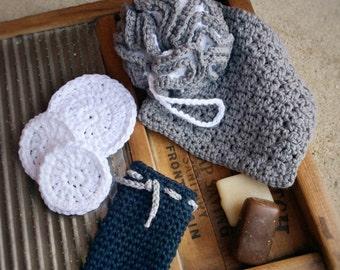 Crochet Spa Bundle, Cotton Spa Set, Gray White Spa Set, Crochet Bath Set
