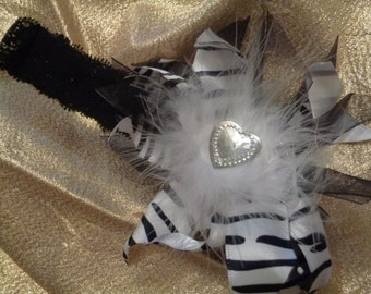 Headband Girls Black White Zebra