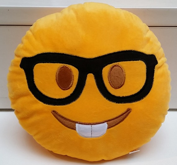 sale nerd geek eyeglasses emoji pillow us seller. Black Bedroom Furniture Sets. Home Design Ideas