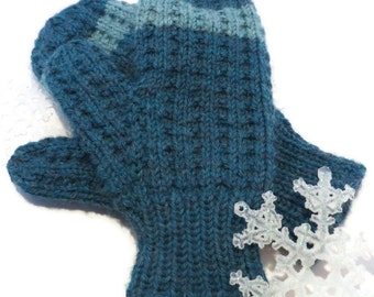 HAND KNIT Teal MITTENS / Hand Knit Mittens / Handmade Mittens / Blue Mittens / Striped Mittens (Mitt101)