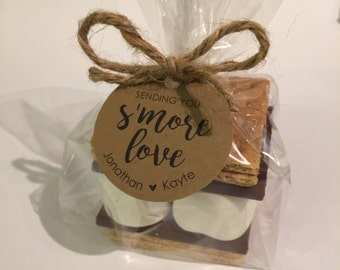 S'more Favor Kit, S'more Love, Customized Circle Tags, Clear Treat Bags, Jute