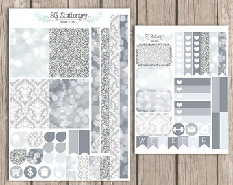 Silver Planner Stickers, for use with EC, Functional Stickers, ECLP, glitter, silver week set, silver