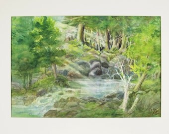 ORIGINAL painting, watercolor, nature, woods, forest, glade, stream, rocks, sunlight, peaceful, serene, gift art, 18x24/mounted 22x28