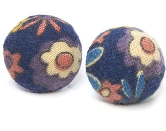 Earrings flowers fabric round