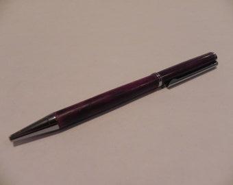 Exotic hand made wooden purpleheart pen