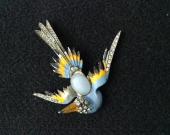Blue Bird Pot Metal Enamel Rhinestone Brooch Pin 1940's