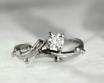 950 Platinum and Diamond Twig Engagement Ring, Promise Ring, Anniversary Ring, Handmade, Made to order