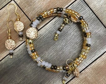 Gold Plated Memory Wire Bracelet Beaded Bracelet Set with Gold Plated Earrings Gold Czech Glass Beads Jewelry Cuff