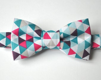 Bow tie man, adjustable, knotted printed white cotton Harlequin