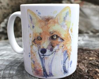 Fox Watercolour Mug, Fox Art Coffee Mug, Woodland Fox Watercolour Ceramic Tea Mug, Fox Kitchen Ware, Fox Lover Gift