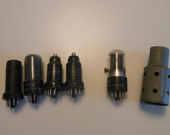 Mid Century Lot of 5 Vintage Radio Tubes plus 1 Tube Heat Shield.  They are from 1930's or 1940's See Pictures
