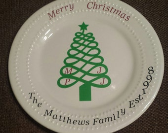 Christmas Family Tree Decorative Plate