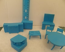 Vintage 1950's Superior Marx Plastic Dollhouse Furniture 8 Piece Blue Set ,  Miniature Furniture for Tin Metal Dollhouse , Mini 1:16 Diorama