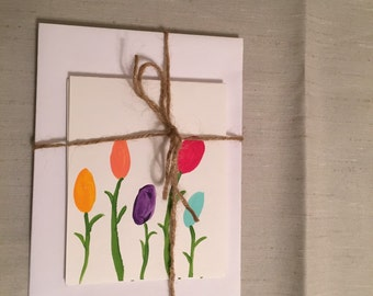 Hand painted cards - blank on the inside. (Set of 4)