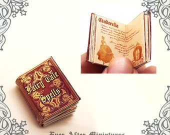 Fairy Tale Spells Dollhouse Miniature Book – 12th Scale OPENABLE Magic Miniature Book with READABLE Fairy Tale Spells - Printable DOWNLOAD