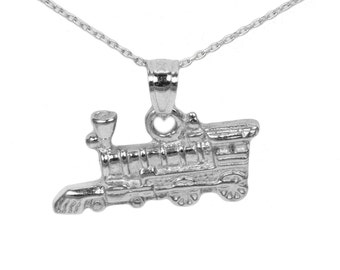 14k White Gold Train Necklace