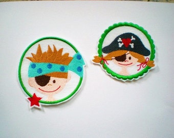 Patch pirate boy or application embroidered gift for pirate girl