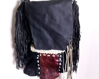 Multicolored handmade crossbody bag for woman, from leather with leather fringe, decorated stitches, new collection, size: medium