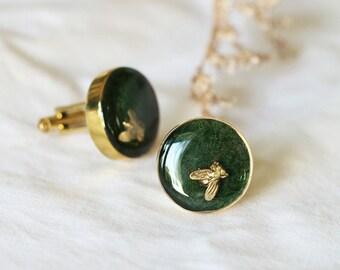 Cufflink Fly on Grass / Brass Cufflink / Linen Cufflink / Cufflink Jewelry / Designed Cufflink