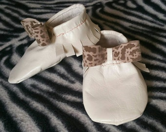 Handmade Moccasins, leather, softest-bows-animal print-baby moccasins