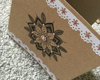 Pink gem mandala card