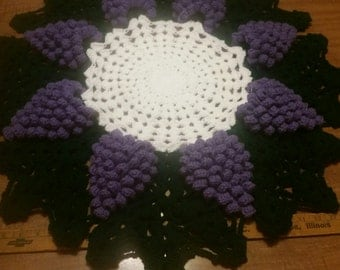 Hand Crochetted Grape Doily