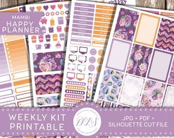 My Happy Planner Stickers, Weekly Planner Kit, Floral Planner, Mambi Stickers, Printable Stickers, Full Box Stickers, Purple Orange, HP101