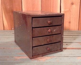 Vintage Industrial 4 Drawer Small/Micro Metal Parts Organizer Bin Cabinet