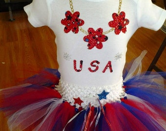 3 pcs:top, skirt, headband USA Patriotic Tutu Outfit for Memorial Day; 4th of July; Labor Day for Infant, Toddler, Child sizes