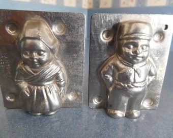 Dutch Boy and Girl #10677 and #10678 Vintage Metal Candy Mold