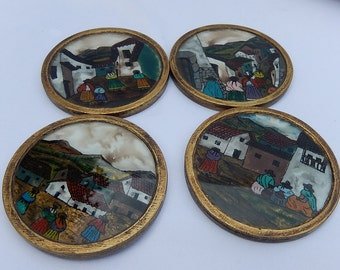 Four old below Stained Glass the country scene