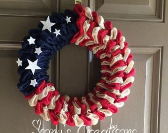 Fourth of july wreath, burlap wreath, summer wreath, front door wreath, patriotic wreath