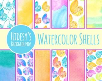 Watercolor Digital Paper // Watercolor Sea Shells Scrapbooking Paper // Water Color Nautilus Sea Shells Digital Water Color Paper