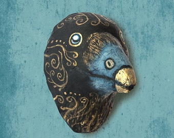 Wall hanging.  Paper mache steampunk, raven head