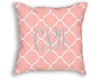 "Monogram Custom Throw Pillow, Blush with white Ogee Pattern, Decorative Pillow 18""x18"""