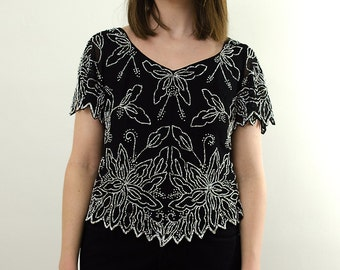 Black Beaded Blouse/ Black Beaded Top/ 80s Beaded Blouse/ Black Short Sleeve Blouse Vintage Beaded Blouse