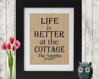 Life is Better at the Lake -  Custom Print - Personalized Burlap Wall Decor - Cottage, Lake, Beach, Trailer - Cottage Sign - Cottage Lover