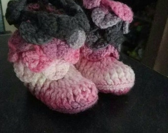 Crocheted Pink/Grey/White baby booties for 6-9 month old.