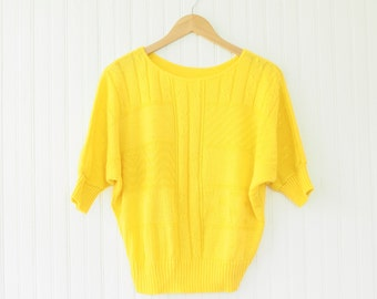 80s sun yellow knit dolman sweater | 1980s casual chunky knit sweater