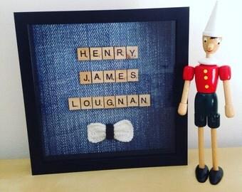 Personalised scrabble frame, crochet, baby nursery, newborn gift