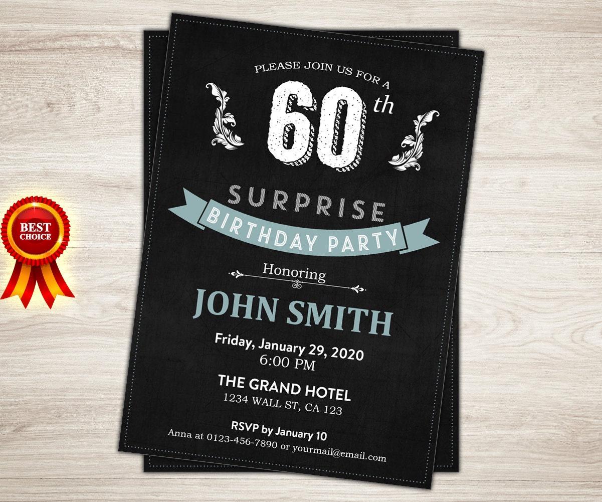 Surprise 60th birthday invitation Man Woman Blue Teal – Mens 40th Birthday Invitations
