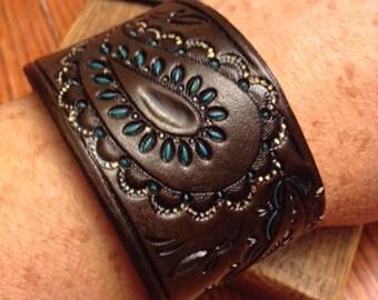 Handmade Leather Tooled Paisley Bracelet - Leather Paisley Cuff; Paisley Leather Wristband