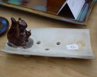 SOAP dish stoneware with squirrel