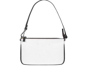 Evening Bag Leather Bag Leather Handbag BARI White for Women by FERDINAND SABAC. Genuine Italian Leather Shoulder Bag Clutch Cross Body Bag