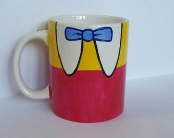 Hand Painted Tweedle Dee and Tweedle Dum porcelain mug (11oz) , inspired by Disney Alice in Wonderland