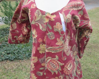 18TH  C Shortgown Maroon Floral Medium