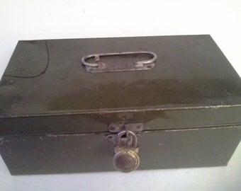 Vintage dark green metal box