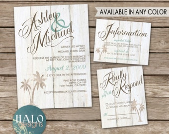 Rustic Beach Wedding Invitations - Invitation Kit, Thank You Card, Save the Date, Printable, Postcard, beach chic, destination wedding
