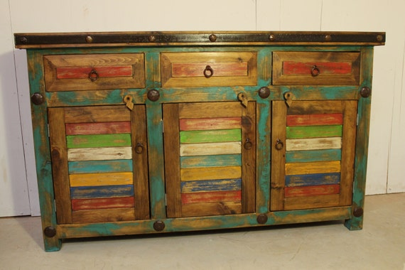 Rustic Vanity Stand Buffet Table Rustic Mexican Southwest