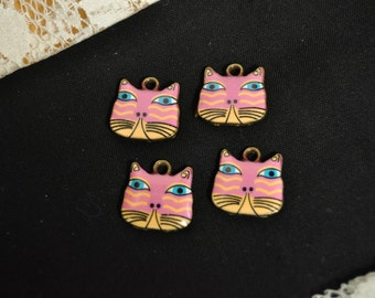 4 Colorful Cat Charms